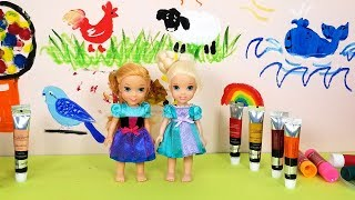 WALL Art Painting ! Elsa and Anna toddlers - school - Barbie is teacher - colors