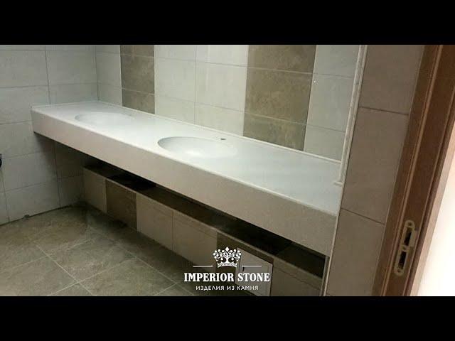 Столешница в ванную с двумя раковинами LG Hi-Macs VW01 Gemini коллекции Volcanics