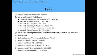 Kenya - Apply for Extension of the Research Permit