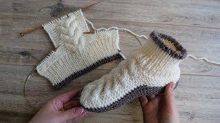 Следки – сапожки с косами спицами | Homemade Knitted Slippers