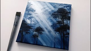 Blue Forest   Easy Abstract Landscape Acrylic Painting   Satisfying Demo
