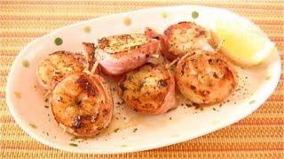 Bacon Rolled Shrimp Saute (Recipe) 海老のくるりんベーコン巻き焼き (レシピ)