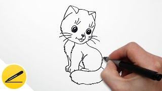 Смотреть онлайн Урок поэтапного рисования карандашами кошки для детей