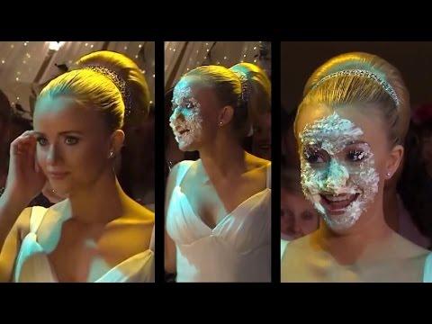 Katie (Sammy Winward) has her face shoved in her wedding cake