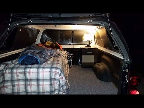 Boondocking -  Home Made Truck Canopy Camper Setup, Camping In Winter -10 Degrees