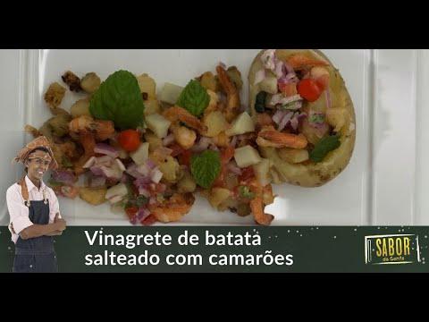Vinagrete de batata com camarões salteados, receita do chef Rivandro França no Sabor da Gente