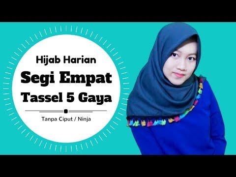 Video Segi Empat Tassel 5 Gaya Untuk Sehari - hari Tanpa Ciput Ninja #NMY Hijab Tutorials