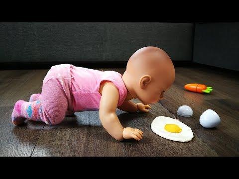 Куклы Пупсики НЕЛЬЗЯ КУШАТЬ С ПОЛА! Мультик Для детей Игрушки Еда Девочки играют