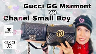 รีวิวกระเป๋า Gucci GG Marmont Mini Bag VS Chanel Small Boy 8"