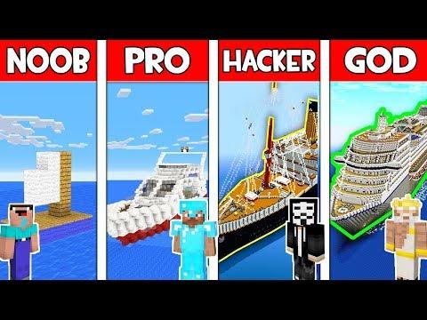Minecraft Battle: SUBMARINE BUILD CHALLENGE - NOOB vs PRO vs HACKER vs GOD / Animation HOUSE BOAT