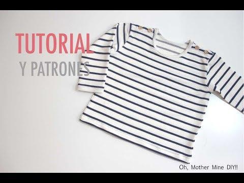 DIY Como hacer camiseta de rayas para niños (patrones gratis)