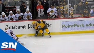 Sidney Crosby Exits Game After Falling Into Boards And Blocking Shot