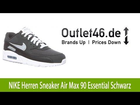 Toller NIKE Herren Sneaker Air Max 90 Essential Schwarz  l Outlet46.de
