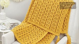 Crochet Golden Waves Throw Pattern