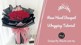 How To Wrap A Rose Hand Bouquet ||  Flower Wrapping Technique & Ideas - Red Roses With Crown Bouquet