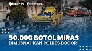 Jelang Lebaran, 50.000 Botol Minuman Beralkohol dan Miras Oplosan Dimusnahkan Polres Bogor