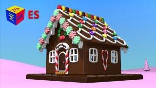 Juego de construcción: como hacer una casa de pan de jengibre. Dibujo animado de Navidad para niños