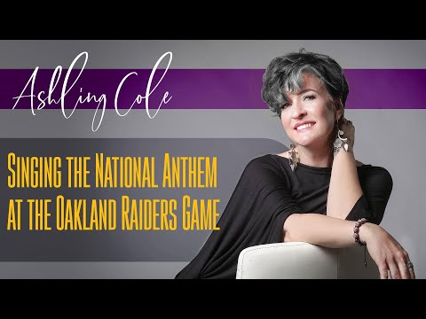 Ashling Cole sing The National Anthem at the Raiders Game