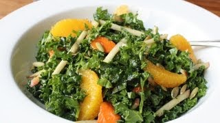 Raw Kale Salad - Sliced Raw Kale With Apples, Oranges, Persimmons & Nuts