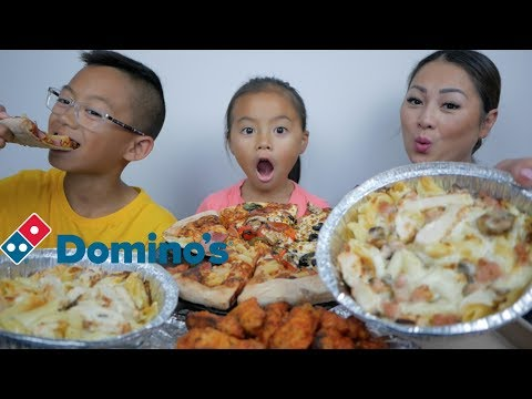 DOMINO'S Pizza, Pasta & HOT Wings Mukbang | N.E Let's Eat