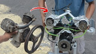 I turn V-twin Compressor into V-twin engine