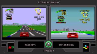 Top Gear 2  (Sega Genesis vs Snes) Side by Side - Comparison