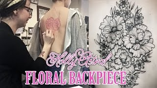 FREEHAND FLORAL BACKPIECE. Holly Astral Tattoo Timeslaspe