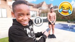 PAUSE CHALLENGE With 10 YEAR OLD KID For 24 HOURS! **Gone Too Far**