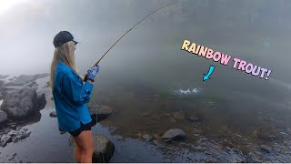 FLY-FISHING for RAINBOW TROUT with TINY FLIES!!! (Catch, Clean & COOK!)