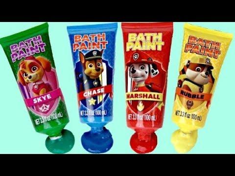 PAW PATROL Bath Time Fingerpaint Activity, Learn Colors, Bubbles, Paddlin' Pups, Toy Surprise / TUYC