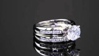 2 Piece 1.90 TCW Cubic Zirconia Bridal Ring Set 10k White Gold