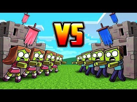Minecraft   BOY ZOMBIE BASE VS GIRL ZOMBIE BASE! (Zombie Base Challenge)