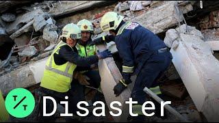 Albania PM Edi Rama Visits Tirana Destruction from 6.4 Earthquake
