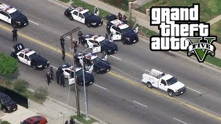 GTA 5 - REAL COPS MOD!! UNBELIEVABLE POLICE CHASE (200 UNITS) Biggest GTA 5 Stars Police Chase EVER!