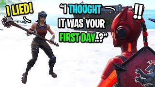 I pretended to be a default skin THEN put on my RENEGADE RAIDER in Fortnite...