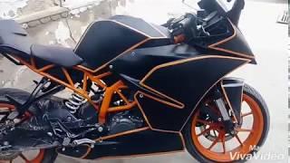KTM RC 390 black Matt vinyl wrap with orange strips
