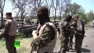 Уничтожен блокпост нацгвардии  Донецкая область  Украина 2014