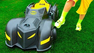 Ali and Adriana Ride on toy Superhero car & play with toys