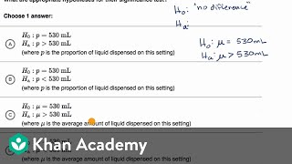 Examples of null and alternative hypotheses | AP Statistics | Khan Academy