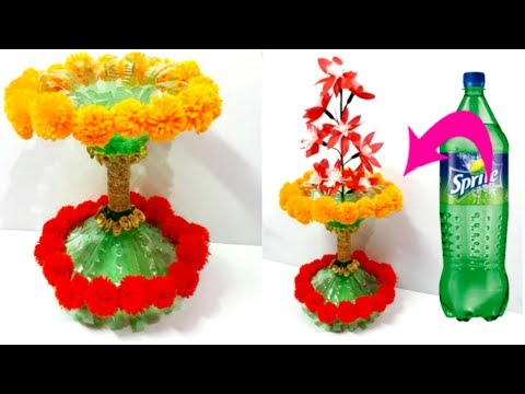 Flower Vaseguldasta With Plastic Bottle And Wool Best Out Of Waste