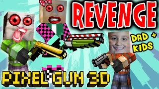 Lets Play Pixel Gun w/ Dad, Daughter & Son: Revenge in the End!  Alliance Formed! (pt. 6)