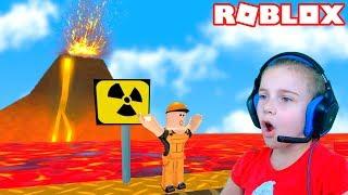 ПОБЕГ ОТ ВУЛКАНА в Роблокс приключение мульт героя на вулкане Roblox