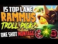 IS TOP LANE RAMMUS A TROLL PICK? OR NEW META? TOP RAMMUS ONE SHOT MONTAGE SEASON 8 LEAGUE OF LEGENDS