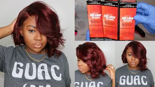 Rihanna Asymmetrical Bob Lace Front Wig | Colored Burgundy From Black | SuperbWigs