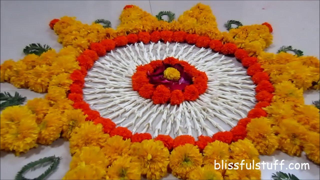 diwali special rangoli design with marigold flowers i by poonam borkar