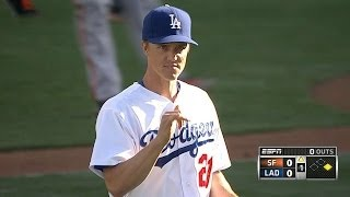 SF@LAD: Greinke fans eight, holds Giants to two runs