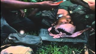US medics give first aid to wounded soldiers of 2nd Battalion, 14th Infantry, 1st...HD Stock Footage