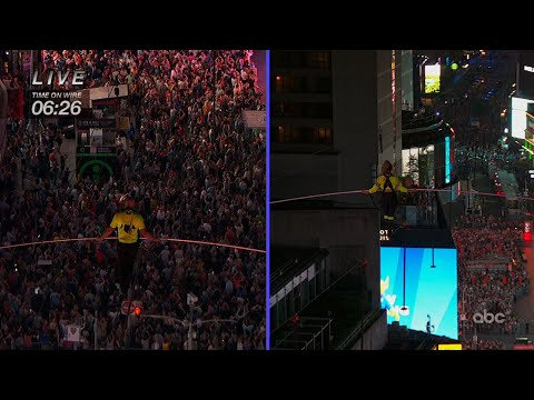 Two siblings from the famed Flying Wallendas safely crossed Times Square on a high wire strung between two skyscrapers 25 stories above the pavement. Nik and Lijana Wallenda walked from opposite ends of a 1,300-foot wire on Sunday. (June 24)