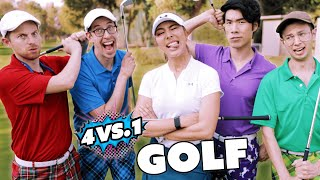 Can 4 Guys Beat A Professional Golf Champion?
