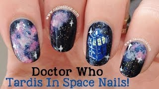 Doctor Who Nail Art | Tardis In Space